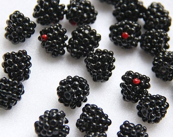 Glass lampwork berries beads Blackberry. Black and red color.