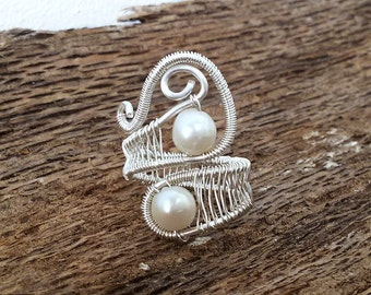 Wire wrapped, Pearl ring, wedding ring, bridesmaid gifts, silver ring, gifts for her