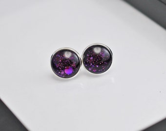 Purple Stud Earrings, Dark Purple Earrings, Purple Glitter Studs, Faux Plugs, Glitter Earrings, Silver Stud Earrings, Stud Earrings, For Her