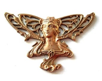 Vintage fairy head metal stamping ART NOUVEAU style made of cooper 75mm
