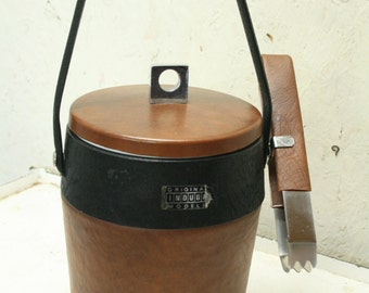 vintage ice bucket and tongs