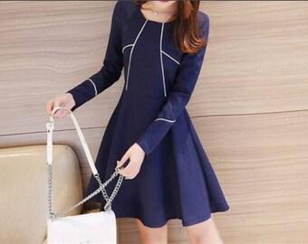 Contrast Trim Long-Sleeve A-Line Dress