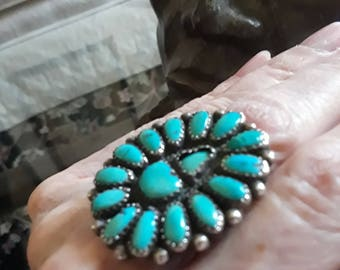 Sterling silver turquoise Native American ring, size 8]