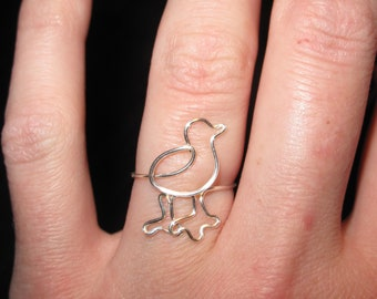 Wire Wrapped Baby Duck MADE TO ORDER Adjustable Ring