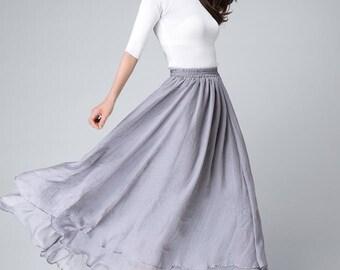 Maxi skirt, chiffon skirt, long skirts for women, grey skirt, high waisted skirt, fit and flare skirt, swing skirt, bohemian skirt 1508
