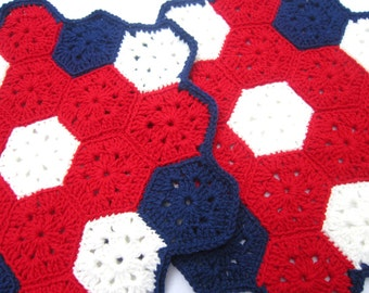 Table Covering, American Decor, Set of Two, Plant Rugs, CrochetPatriotic Colors Red White and Blue Placemats Table Runners, Gift for Grandma