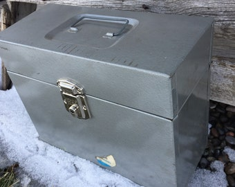 50s Metal File Box - Industrial Box - Metal Farmhouse Decor - Wedding Card Box - Home Decor - Office Storage