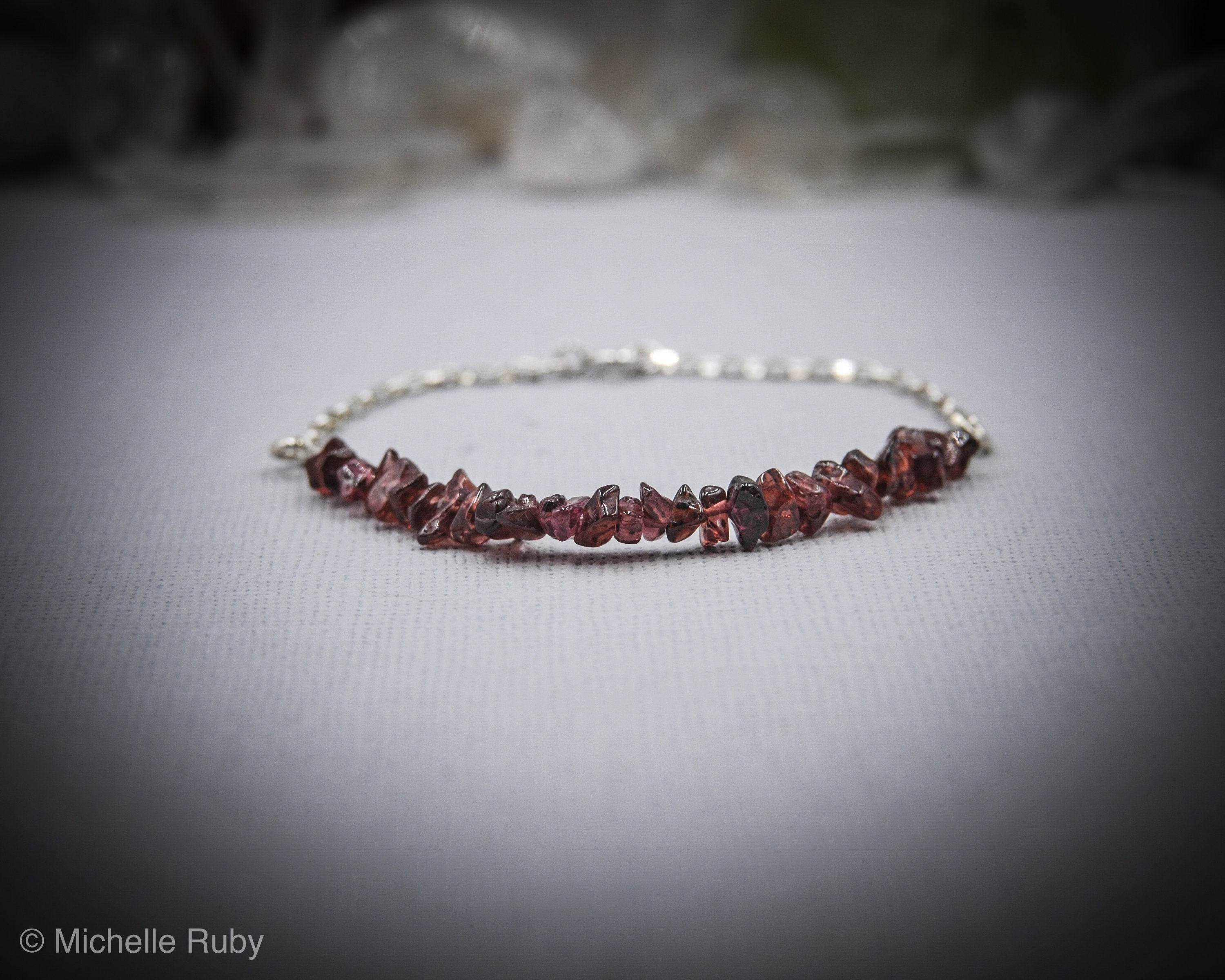 garnet gold tennis in bracelet white red