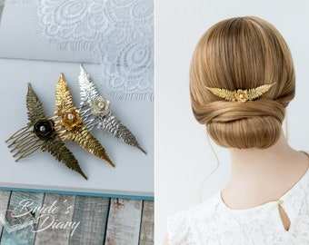 Wedding hair jewelry, Vintage bridal hair comb, simple bridal hair accessories