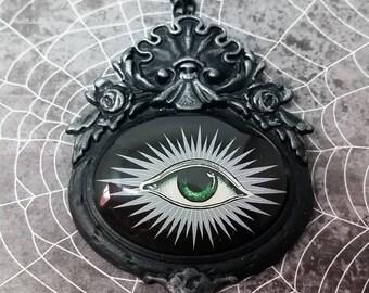 Vintage Absinthe Eye Pendant Necklace