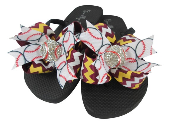 Bling Flops Bows Rhinestone moms team softball and Bow Gold baseball Flip girls ladies Baseball Chevron and Navy Match colors CFdgBWBn