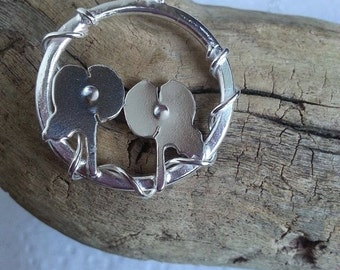 Poppy Necklace Sterling Silver Remembrance Poppy Pendant