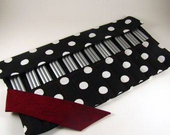 36 Pencil Roll, Polka Dot Fabric, Holds Up to 36 Pencils, Pencil Wrap, Colored Pencils, Pencil Case, Pencil Organizer, Pencil Mat