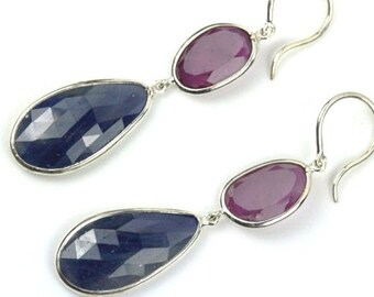 Ruby and Sapphire Earrings, Natural Gesmtones Earrings, Handmade earrings in sterling silver