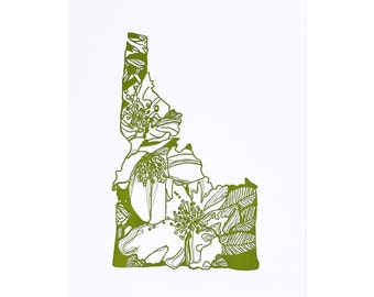 Letterpress Idaho Syringa State Flower