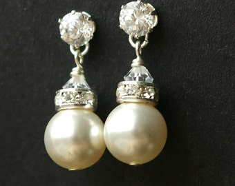 Modern Vintage Pearl Bridal Earrings, STERLING SILVER Wedding Earrings, Ivory White Pearl Cubic Zirconia Wedding Jewelry, CLASSIC Collection