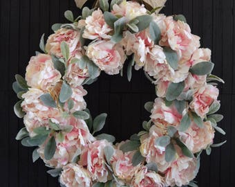 Blush Pink Peony and Lambs Ear Spring and Summer Front Door Wreath