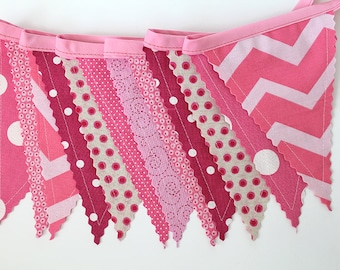 Party bunting, Pink Mix, Bedroom decor, Fabric sewn Banner. Photo prop. 12 Pennant flags, baby girl shower, play room, dessert table flag