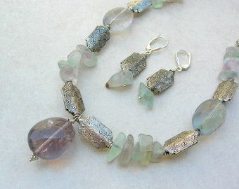 CHARMING Fluorite Set, Fluorite Pendant and Oval & Chip Beads, Sterling Silver Beads, Adult/Teen Necklace, Necklace Set by SandraDesigns