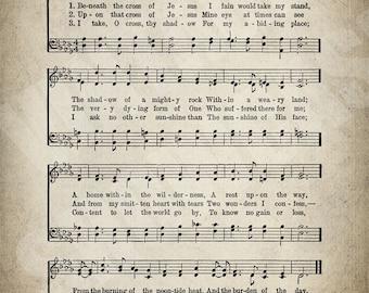 Beneath the Cross of Jesus Hymn Print - Sheet Music Art - Hymn Art - Hymnal Sheet - Home Decor - Music Sheet - Print - #HYMN-P-041