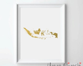 Indonesia Map Gold Foil Print, Gold Print, Map Custom Print in Gold, Illustration Art Print, Map of Indonesia Gold Foil Art Print