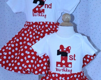 Minnie Mouse, girl first birthday, girl 1st birthday, girls 1st birthday, Disney, Red, white, polka dot, Minnie Mouse skirt, birthday outfit