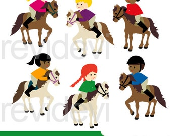 Horse riding clipart - Kids ride horse, white horse clipart - Sport Equestrian clip art - instant download - commercial use, digital images