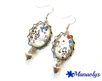 Glass cabochon, music and hearts earrings