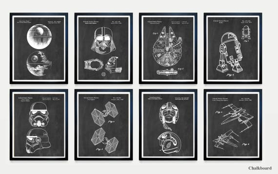 Star Wars Patent Art - The DARK SIDE vs the FORCE- Death Star Vader - Falcon - Star Wars Wall Art - Star Wars Art - Star Wars Poster - R2D2