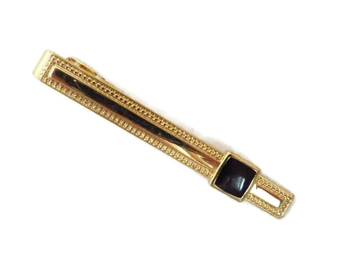Vintage Tie Bar, Faux Onyx Tie Clasp, Goldtone Beaded Tie Clip, Men's Suit Accessory, Gift Idea for Him