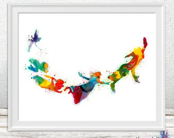 Watercolor Peter pan print - nursery decor - Watercolor Peter pan- Disney art