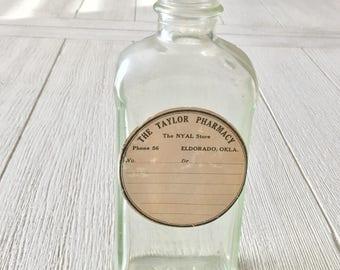 Vintage Medicine Bottle Taylor Pharmacy Label