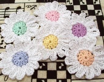 Crochet White Flowers - Set of 6