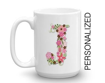 PERSONALIZED Initial Mug, Floral Typography, Ceramic mug,Coffee Mug, Statement Mug Unique Coffee Mug Typography Mug