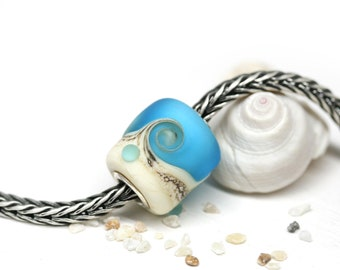 Frosted Blue glass European charm Seaglass Blue Artisan lampwork Spiral bead Beach jewelry Glass large hole bead SRA by MayaHoney