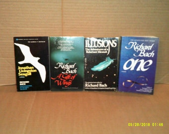 Jonathan Livingston Seagull, A Gift of Wings, One, Illusions by Richard Bach 4 paperbacks