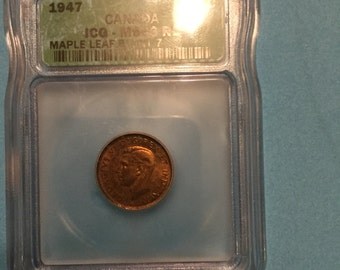 ICG MS 66 RB Blunt 7 Canadian one cent