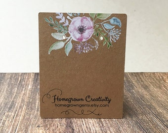 Custom Earring Cards - Pastel Flower Garden - Packaging - Necklace Cards - Hair bows - Jewelry - Price Tags | DS0116