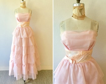 Prom 50s dress | Vintage pale pink organza tiered prom dress | 1950s strapless long party dress