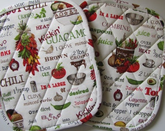 Chili, Salsa and Guacamole fixings potholders - set of 2