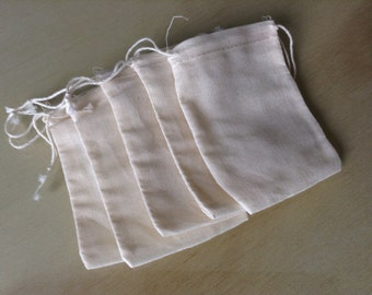 100 Muslin Bags Double Drawstring 2 3-4 x 4 inches