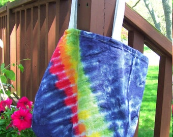 Cotton Tie Dye Market Tote - Grocery Bag - with Gussets - Midnight Rainbow