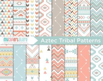 Papier numérique - Tribal, Indiens d'Amérique, motifs Aztèques, Navajo, géométriques, papier de scrapbooking, tutoriel, utilisation commerciale, JPEG, PDF