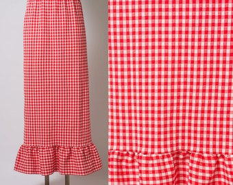 Vintage skirt, Vintage Red Skirt, Vintage Maxi skirt, 60s Skirt, Vintage GINGHAM skirt, Vintage red maxi skirt, 60s red skirt - S/M/L