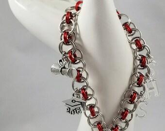 Helm Chain Charm Bracelet, Handmade Chainmaille Bracelet, Choose your Charm