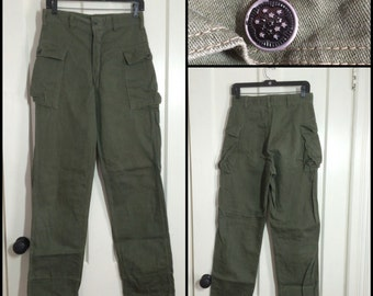 1950's Korean War Star Button US Military 2 side Pocket Fatigue Trousers 30X33 30 inch waist Green OG 107