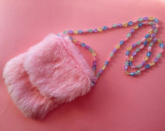 Faux Fur Purse in Pink / Birthday's Gift Idea / Wedding accsesories / Chic bag / Easter