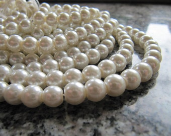 8mm Glass PEARL Beads in Creamy White, 50 Beads, Round