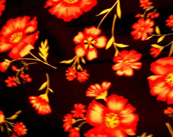 Red Floral on Black Fabric, Cotton Fabric, Clothing Fabric, Sewing Fabric, Quilting Fabric, Crafting fabric, BTY,  #191