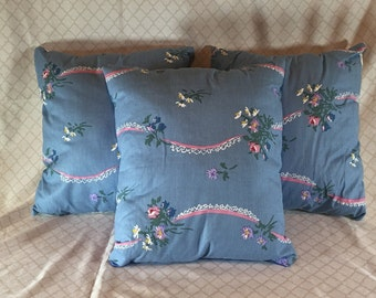 3 Decorative Pillows  Blue Flower & Lace  - Solid on Other Side   Handmade